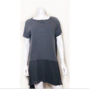 Morgane Le Fey Gray Mini Dress Silk Hem Size S